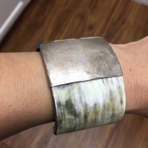 Jewelry - Horn Cuff Bracelet With Metal Accent